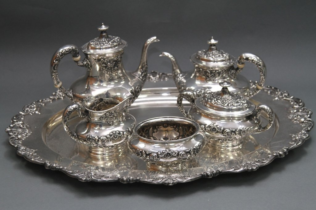 STERLING GORHAM TEA SET WITH STERLING TRAY: