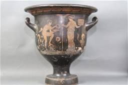 GREEK 5TH CENTURY PERIOD ANTIQUE HANDLED URN: