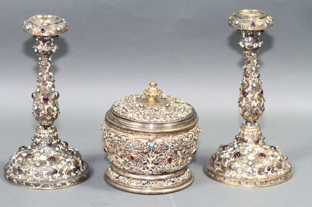 RUSSIAN ANTIQUE SILVER & JEWEL MOUNTED 3PC. SET: