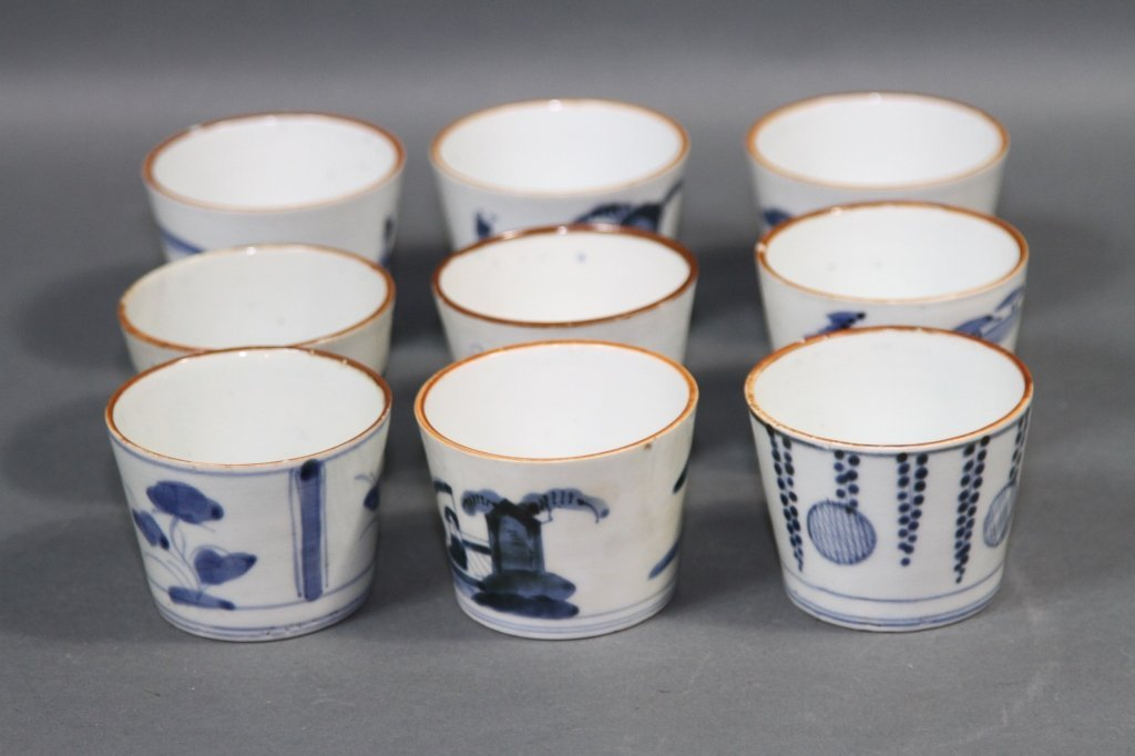 CHINESE BLUE AND WHITE BOWL SET OF NINE: