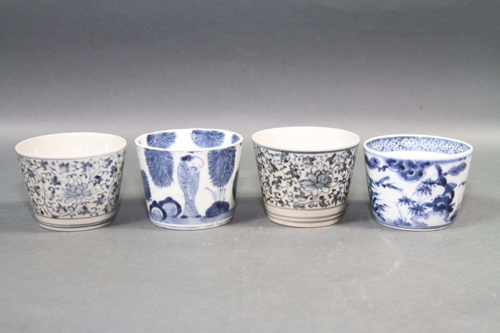 CHINESE BLUE AND WHITE CUPS LOT OF FOUR: