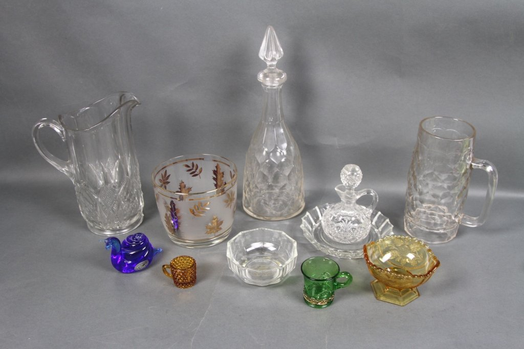 LOT OF CUT AND HAND BLOWN GLASS: