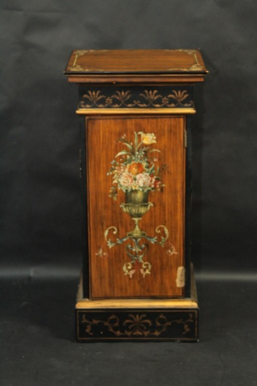 PAINTED DECORATED PEDESTAL: