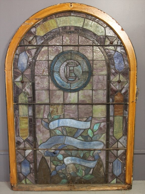 VERY FINE ANTIQUE STAIN GLASS WINDOW