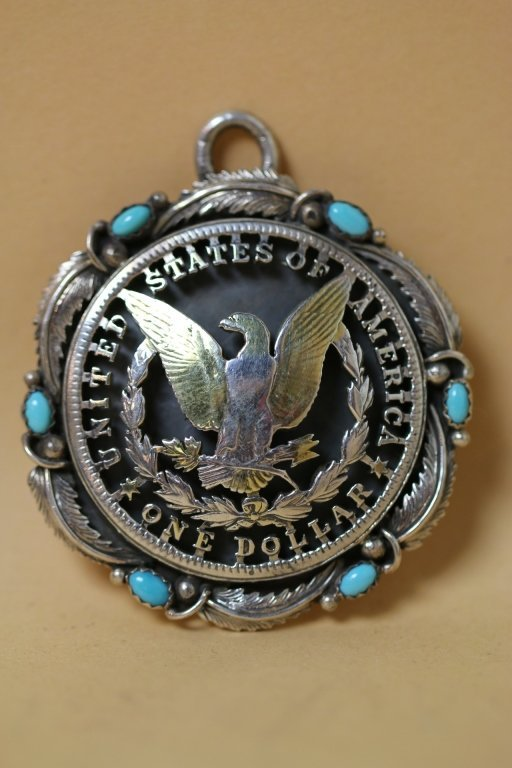 STERLING US SILVER DOLLAR COIN ARTWORK PENDANT