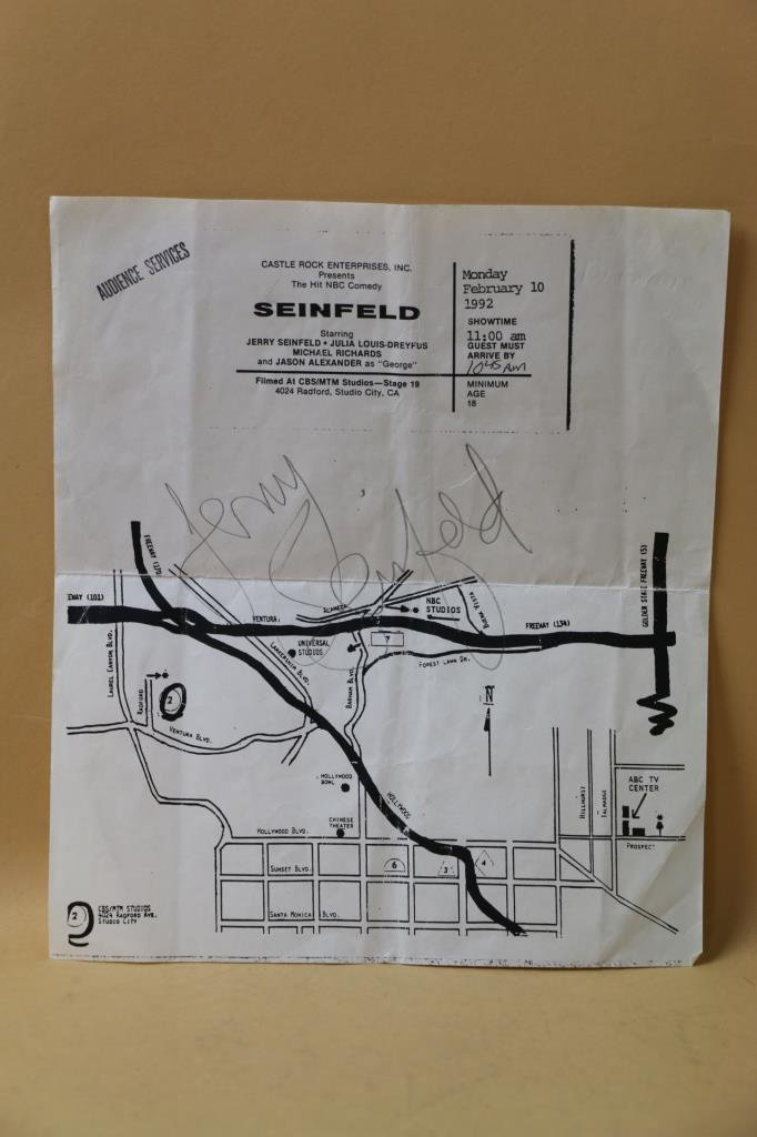 JERRY SEINFELD AUTOGRAPHED NBC AUDIENCE MAP