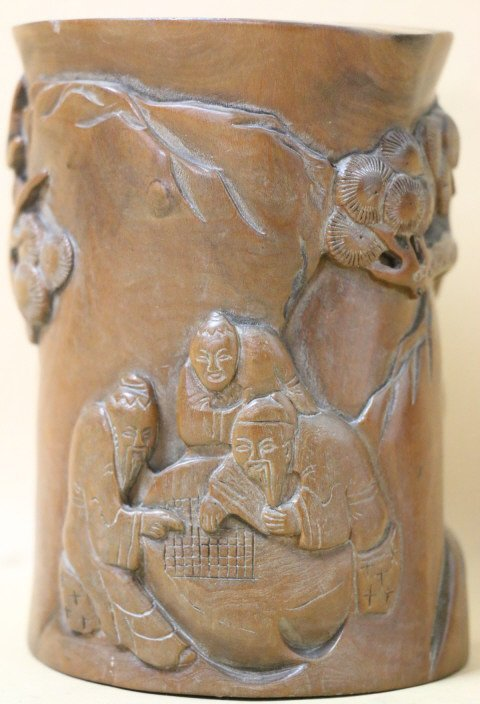 CHINESE ANTIQUE CARVED  BRUSH POT