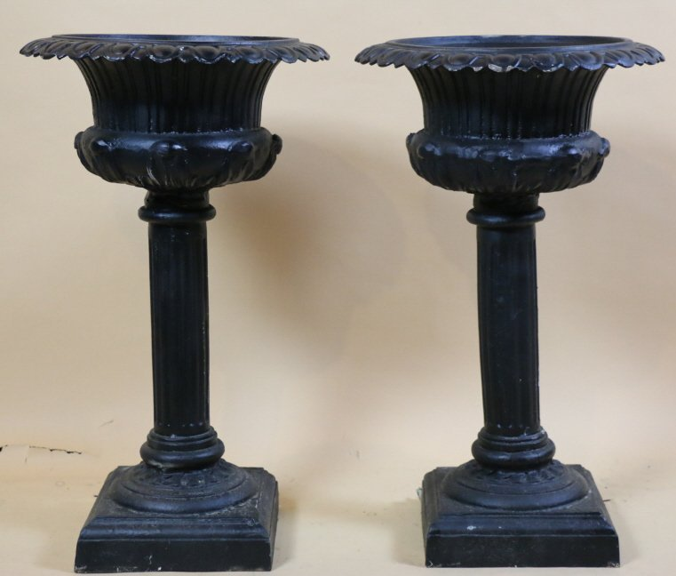 VINTAGE RAISE CAST IRON PLANTERS ON BASES