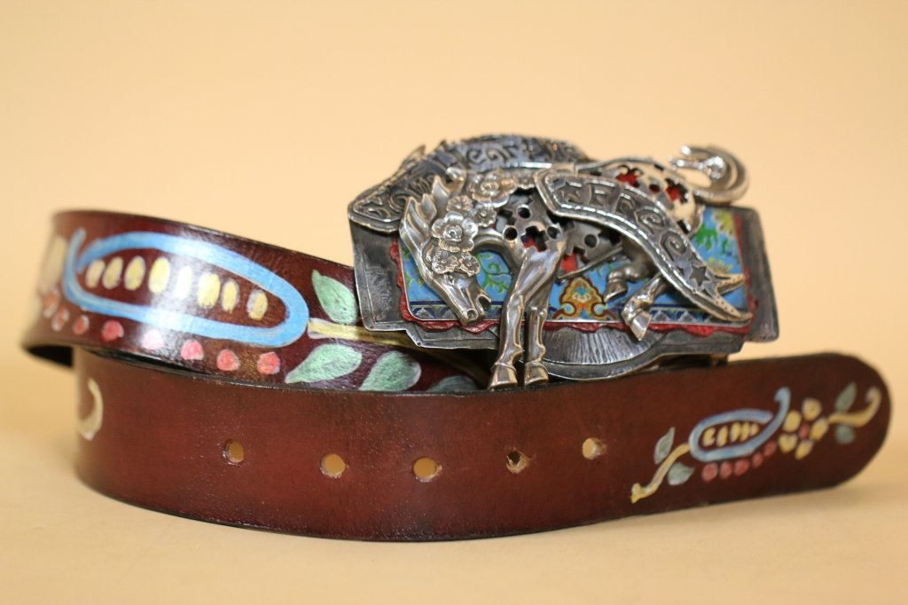 STERLING CUSTOM COWGIRL BUCKLE & HANDPAINTED BELT
