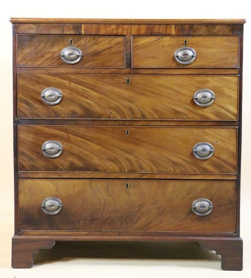 ENGLISH 19TH C. MAHOGANY INLAID CHEST