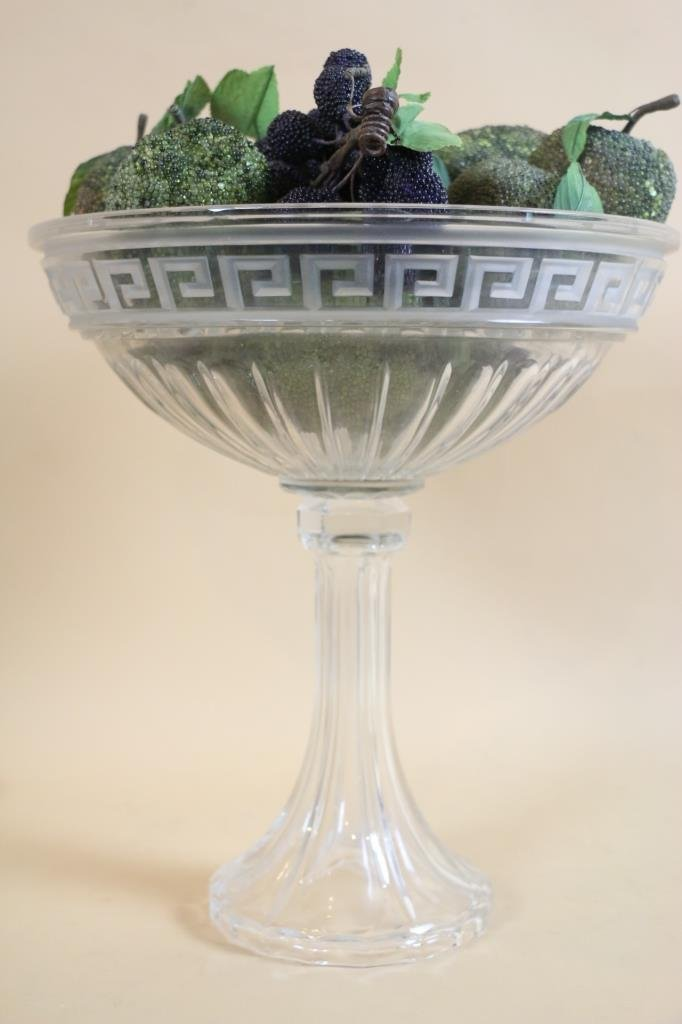 GREEK KEY TALL FLUTED GLASS PRESENTATION BOWL