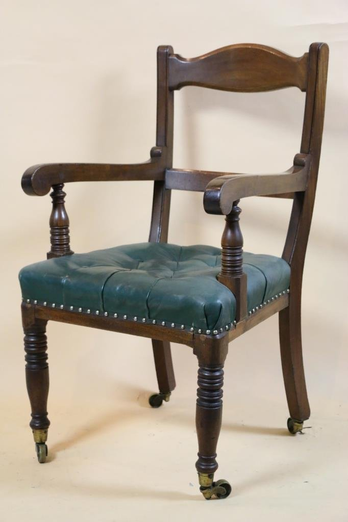 ENGLISH 19TH CASTORED MAHOGANY OVERSIZED ARMCHAIR