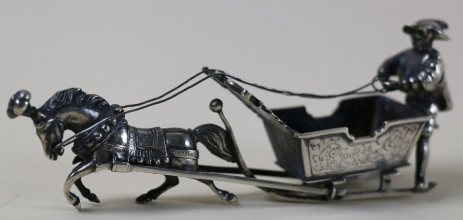 FRENCH STERLING SILVER HORSE AND SLEIGH