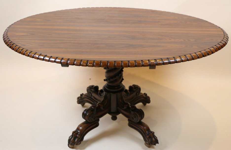 ENGLISH ROSEWOOD ROPE CARVED OVAL TILT TOP TABLE