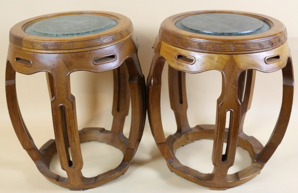 CHINESE MARBLE TOP MELON STOOL TABLES