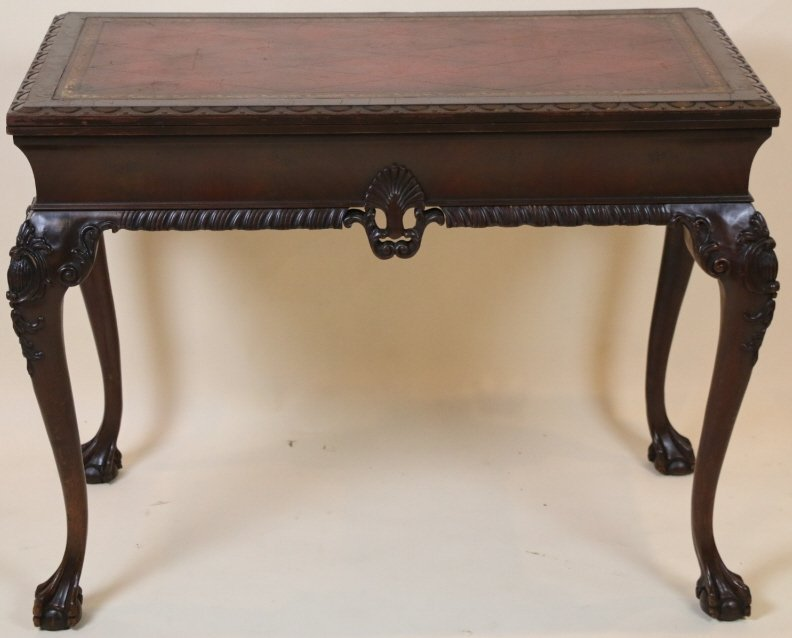 ENGLISH MAHOGANY CHIPPENDALE GAMING TABLE