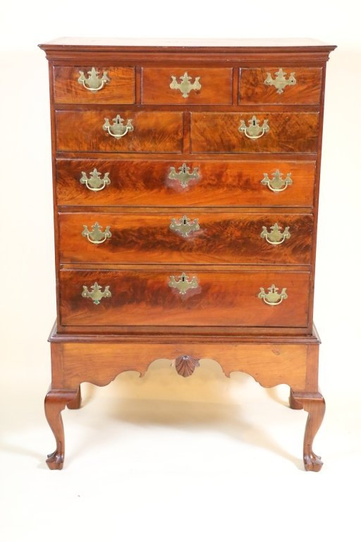 ANTIQUE AMERICAN 19TH C. CHEST ON FRAME