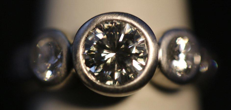 1.75 CARAT DIAMOND 18 KWG BRUSHED CUSTOM RING