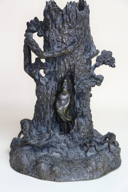 CHINESE SIGNED BRONZE QUAN YIN TREE OF LIFE