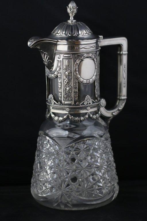 GERMAN STERLING SILVER(800) / CUT GLASS PITCHER