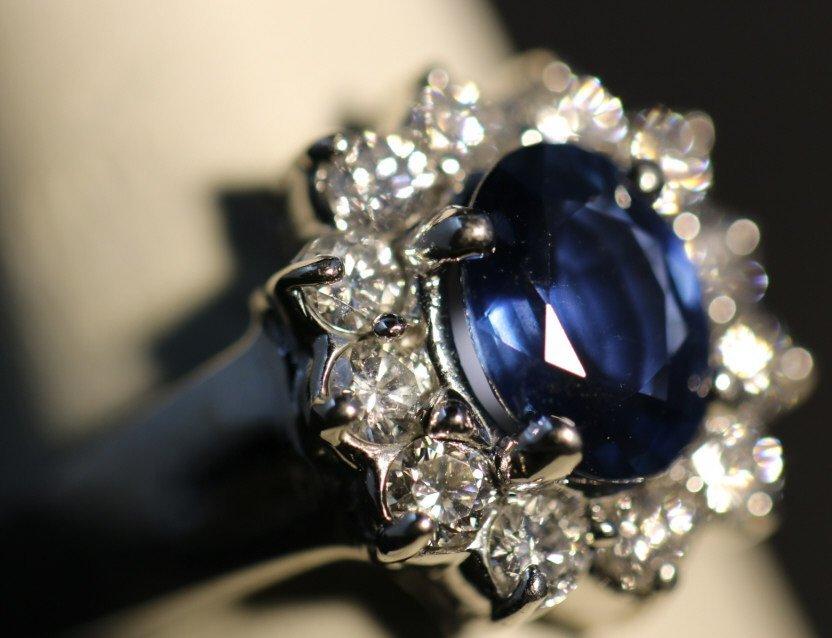 14KWG SAPPHIRE AND DIAMOND RING