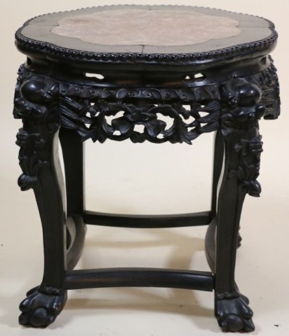 CHINESE ANTIQUE HAND CARVED MARBLE INSET STAND