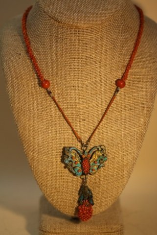 CHINESE ANTIQUE CORAL KING FISHER NECKLACE
