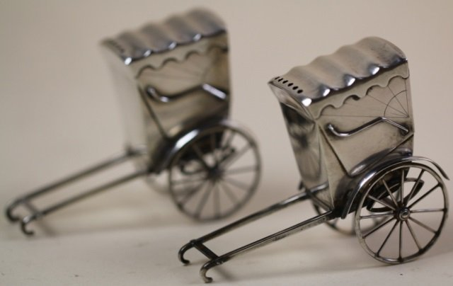 CHINESE STERLING SILVER RICKSHAW SHAKERS