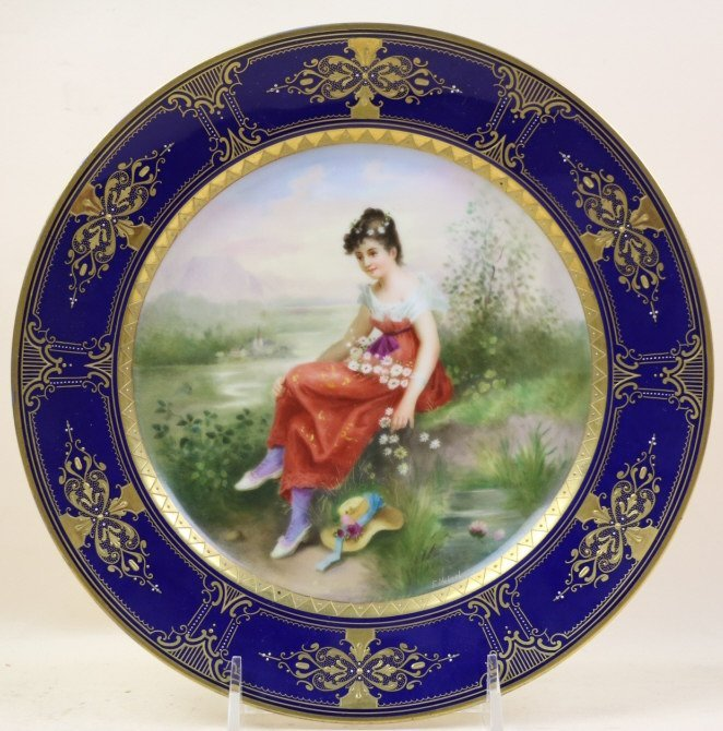 ROYAL VIENNA HAND PAINTED PORTRAIT PLATE