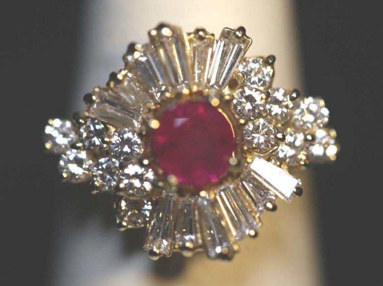14KYG 1 CARAT RUBY AND 1+ CARAT DIAMOND RING