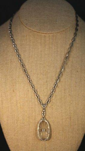 Sterling / Diamond & Crystal Lalique Deco Necklace