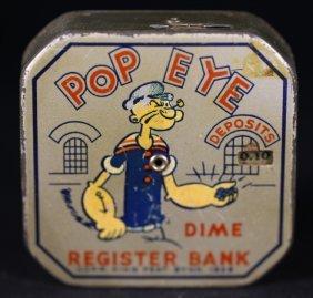 Popeye Antique Dime Register Bank