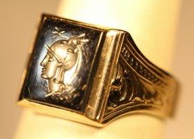 Sterling Silver Vintage Intaglio Mens Ring