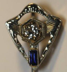 14kwg Diamond & Sapphire Deco Era Ladies Hair Pin