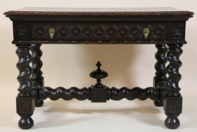 English Antique Barley Twist Library Table