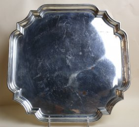 English Silver Plate Rosed Libation Tray