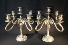 Candleabra 5 Light Silver Plate Pair
