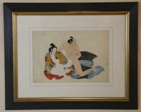 Japanese Rare Erotica Antique Work On Paper