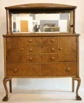 American Antique Oak Mirrored Back Sideboard
