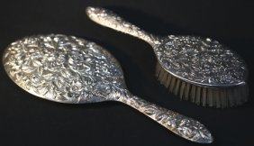 S. Kirk & Son Sterling Silver Repousse Vanity Pair