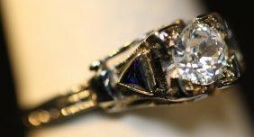 Antique Deco Diamond & Sapphire Ring Ladies