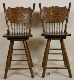 American Pressed Back Swivel Stools