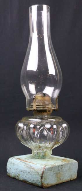 Primitive Antique Paint Decorated Oil Lamp