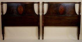 English Mahogany Inlaid Twin Head Boards