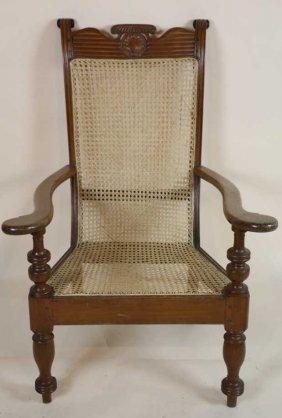 Antique Carribean Caned Plantation Chair