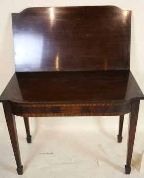 Antique Inlaid Moahogany Flip Top Game Table