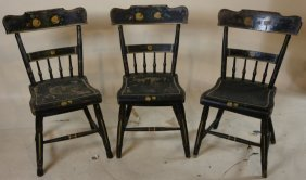 (3) Antique Stencil / Paint Decorated Side Chairs