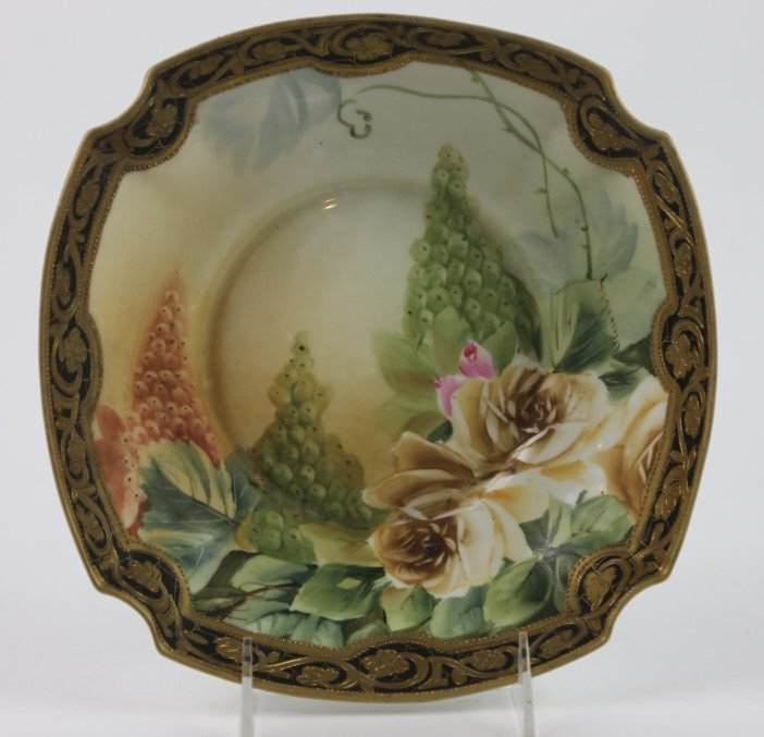 ANITQUE NIPPON HAND PAINTED FLORAL JEWELED PLATE
