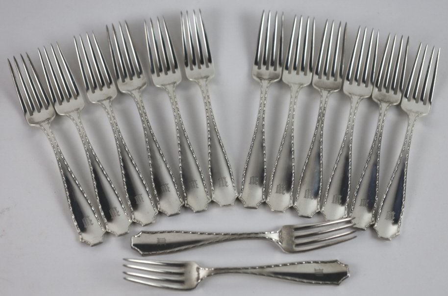 """TIFFANY & CO. NY 1902 """"MARQUISE"""" STERLING FORKS"""