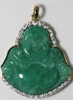 Chinese Jade /14kyg / Diamond / Buddha